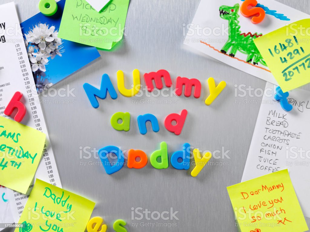 Mummy and Daddy  Notice royalty-free stock photo