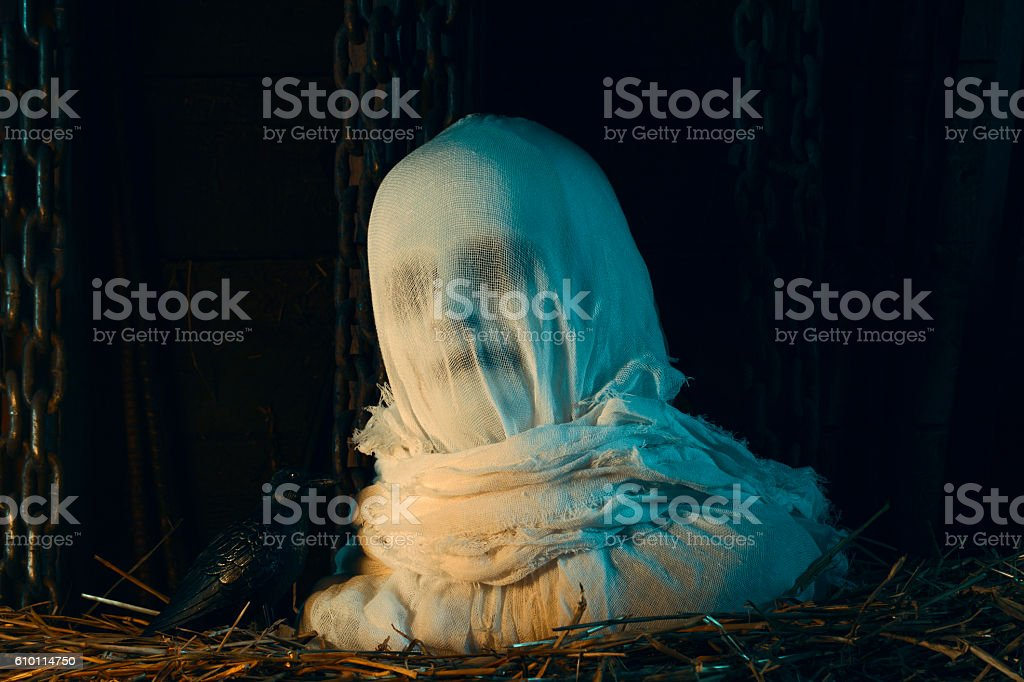 Mummy Man and Black Crow in Barn with Hanging Chains stock photo