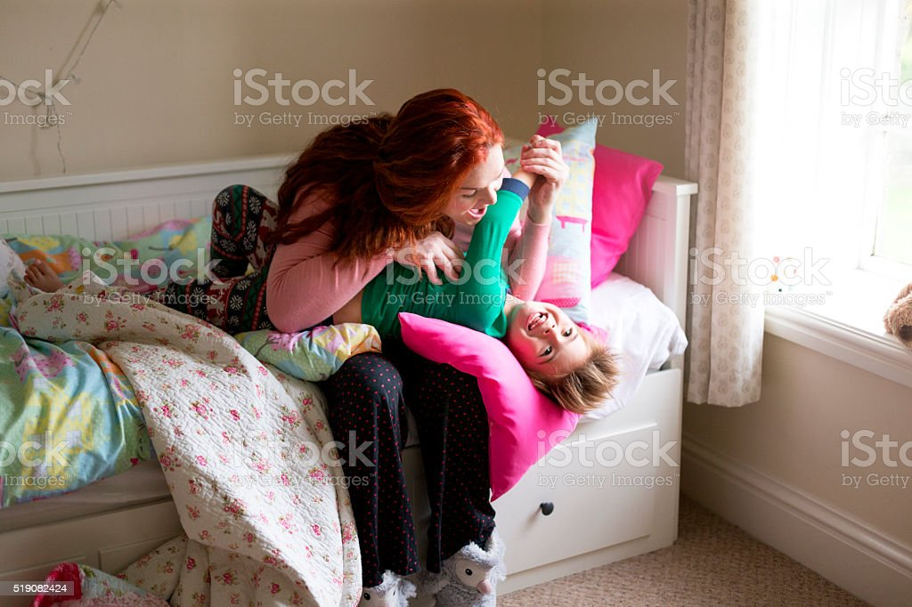 Mummy, that tickles! stock photo