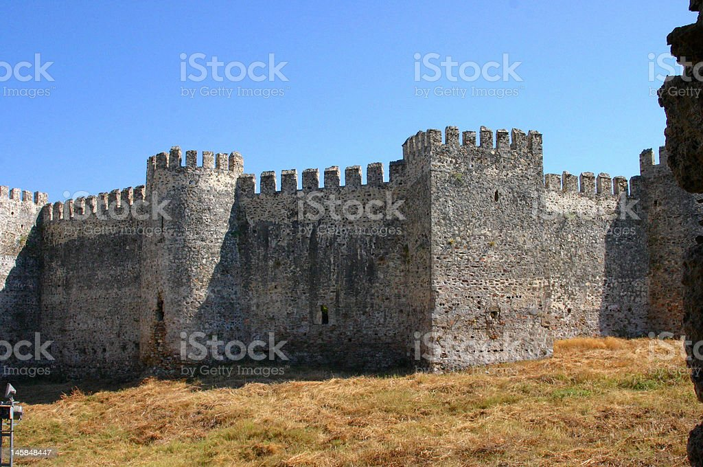 Mumure Castle -\texterior towers stock photo