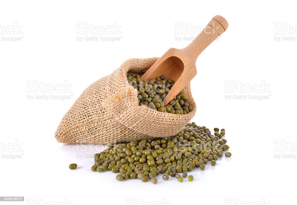 mung bean in sack on white background stock photo