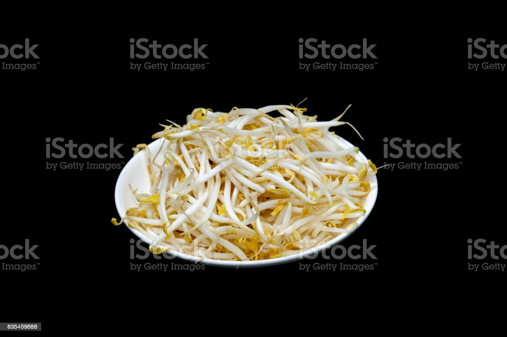 mung bean sprout on plate and black background stock photo