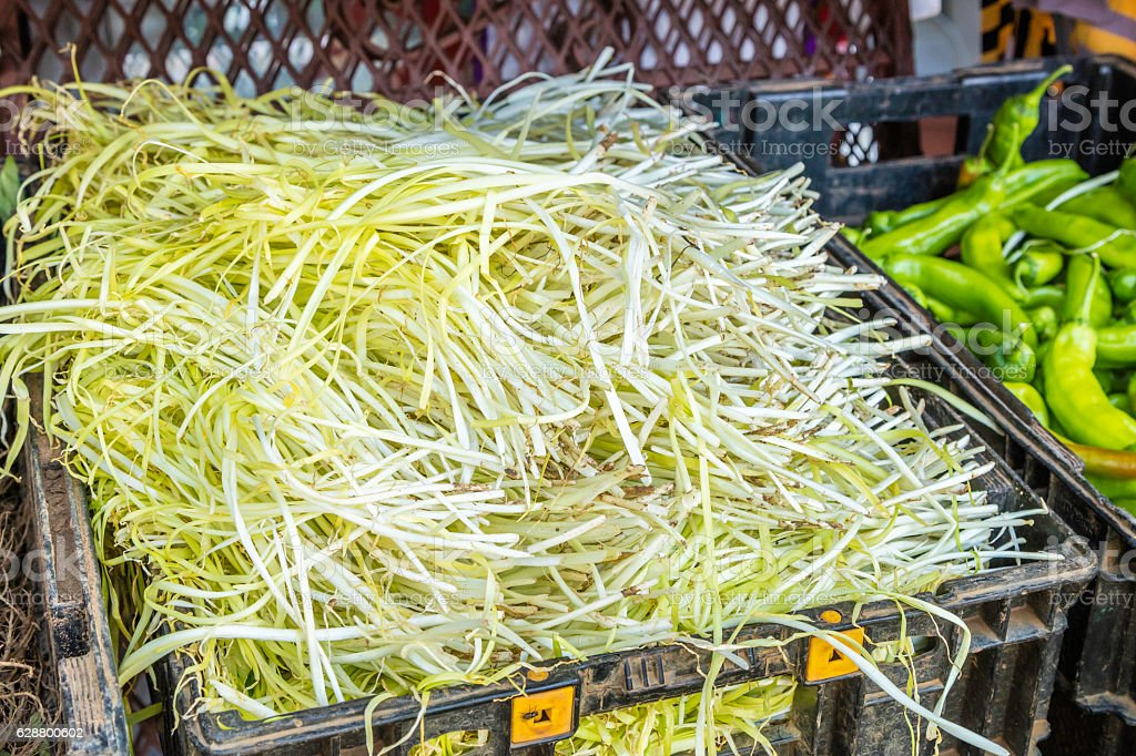 Mung bean sprouts at the market stock photo