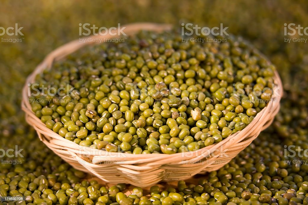 Mung beans in a basket. stock photo