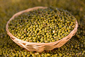 Mung beans in a basket.