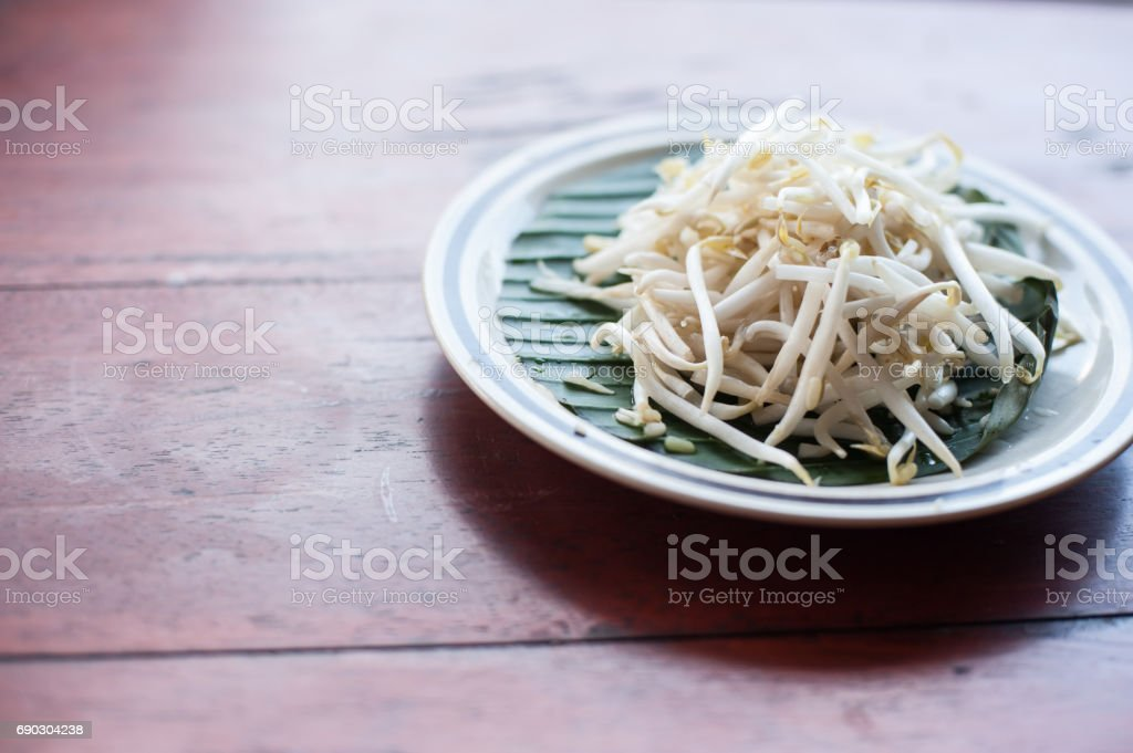 Mung beans or bean sprouts on white plates stock photo