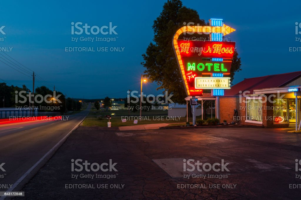 Munger Moss Motel at night along the Route 66 in Lebanon, Missouri stock photo