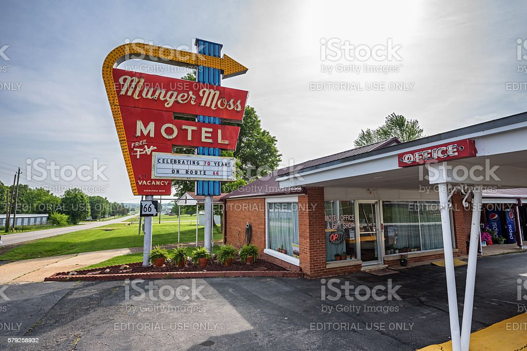 Munger Moss Motel on route 66 in Missouri stock photo