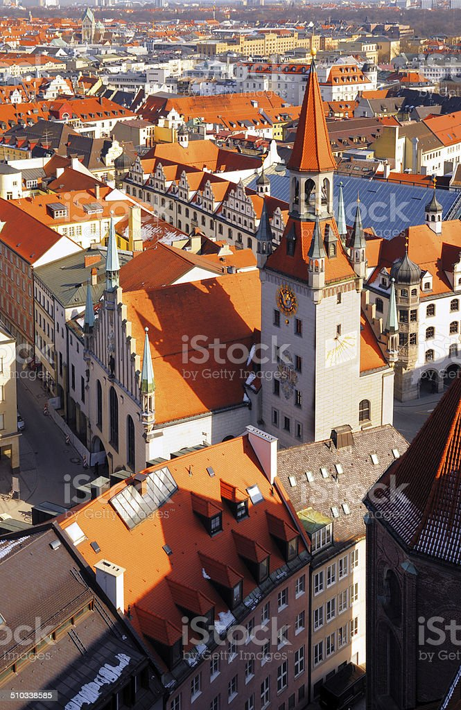 Munich aereal view on Old Town Hall stock photo