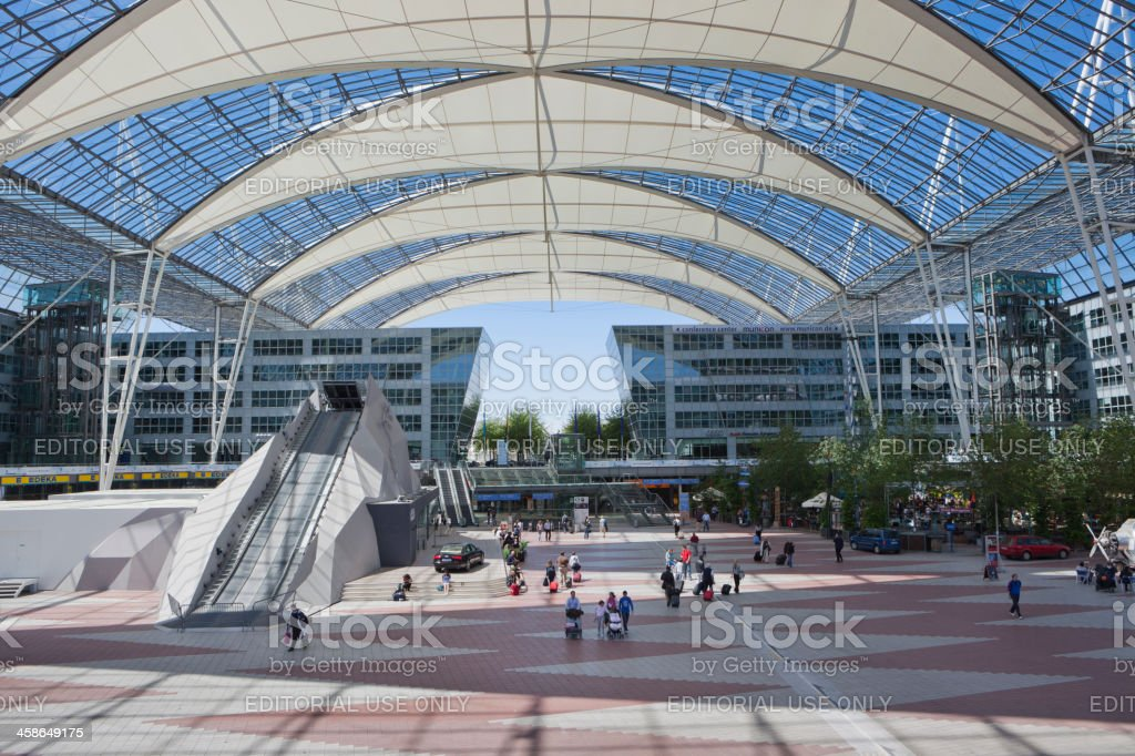 Munich Aiport - square between Terminal 1 and 2 stock photo