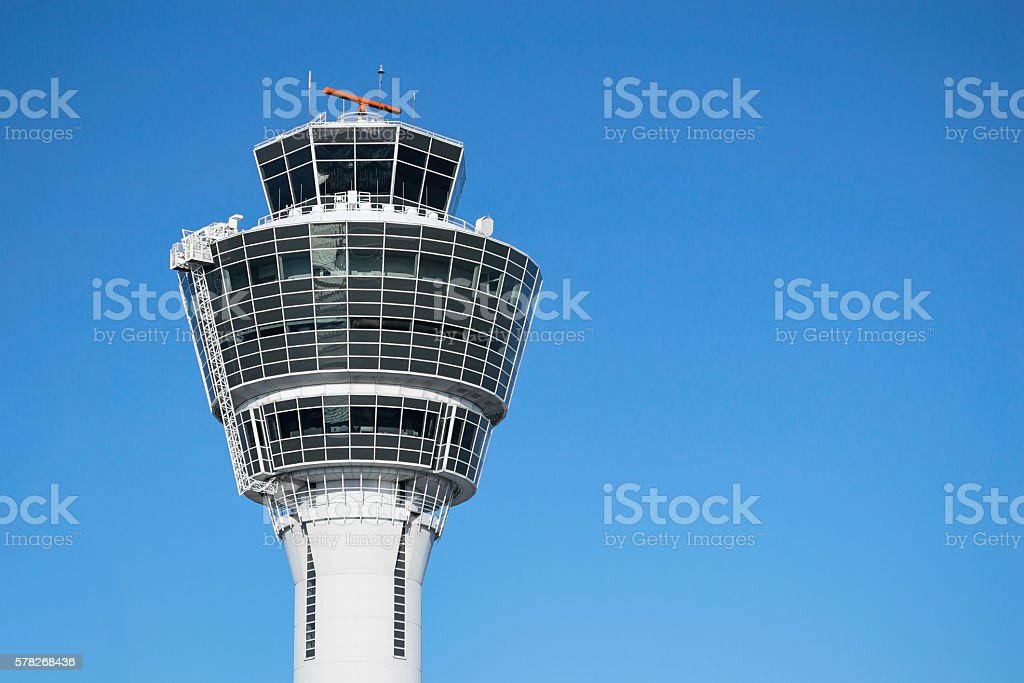 Munich air traffic control tower against clear blue sky stock photo