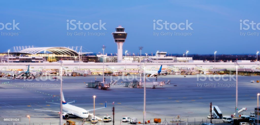 Munich Airport at Dusk, Germany stock photo