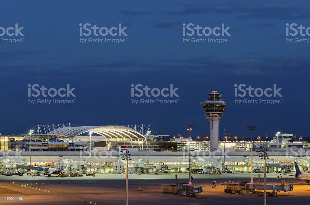 Munich Airport at Night stock photo