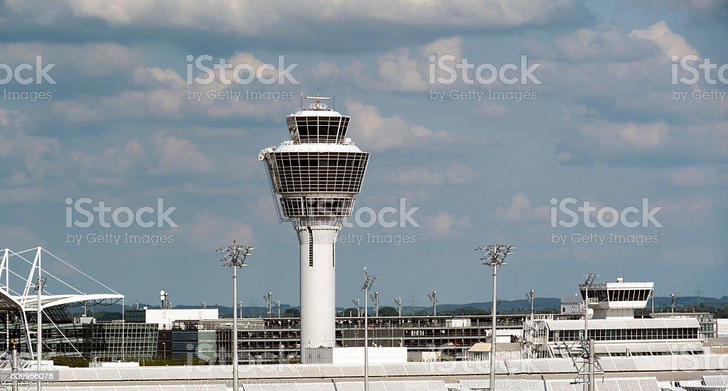 Munich Airport Tower Panorama stock photo
