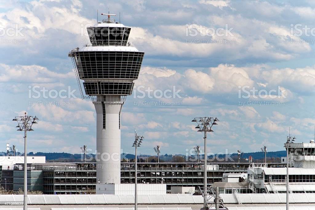 Munich Airport Tower stock photo
