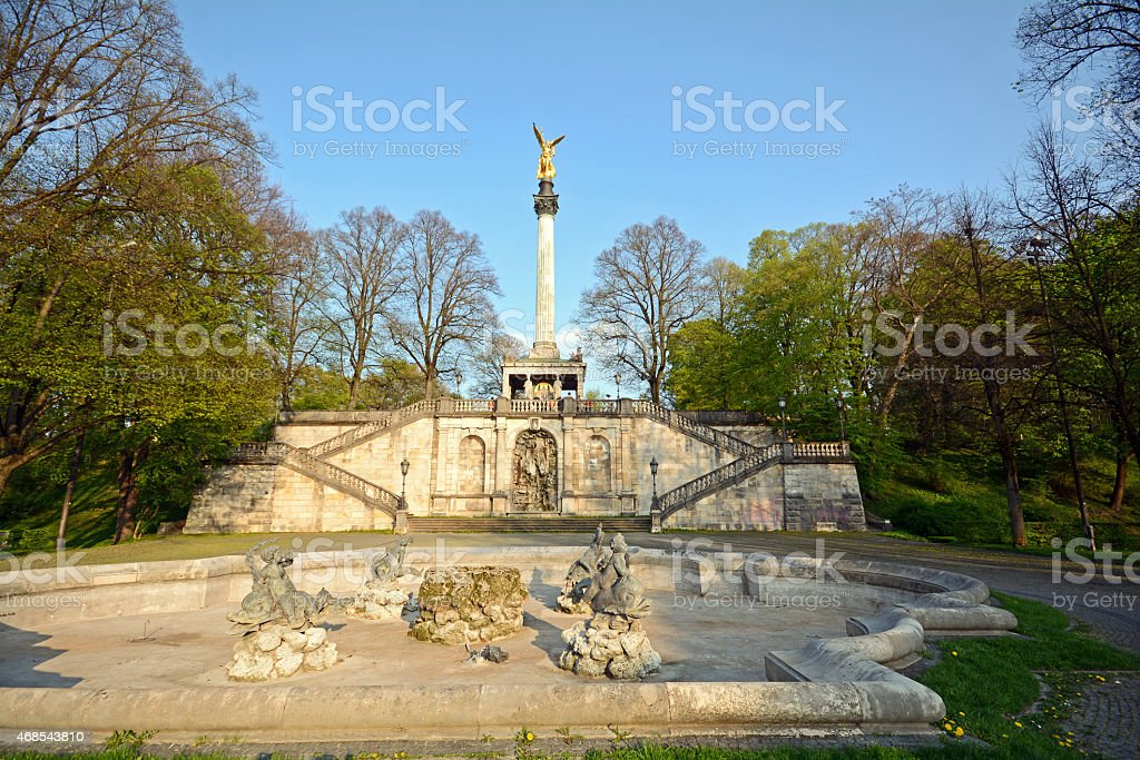 Munich, Bavaria: Angel of Peace monument (Friedensengel) in spring, Germany stock photo