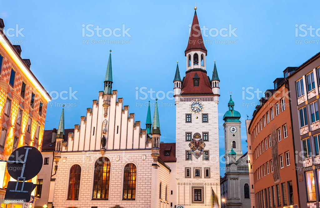 Munich by night with Old Town Hall stock photo