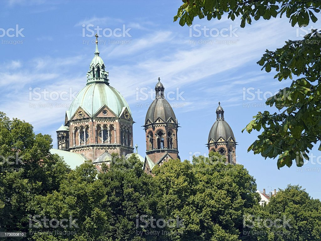 Munich Churches - The towers of St Lukas royalty-free stock photo