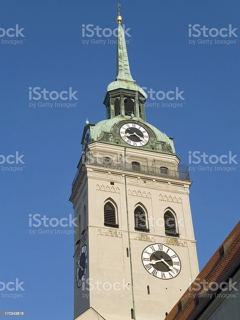 Munich Churches - Tower of St Peter royalty-free stock photo