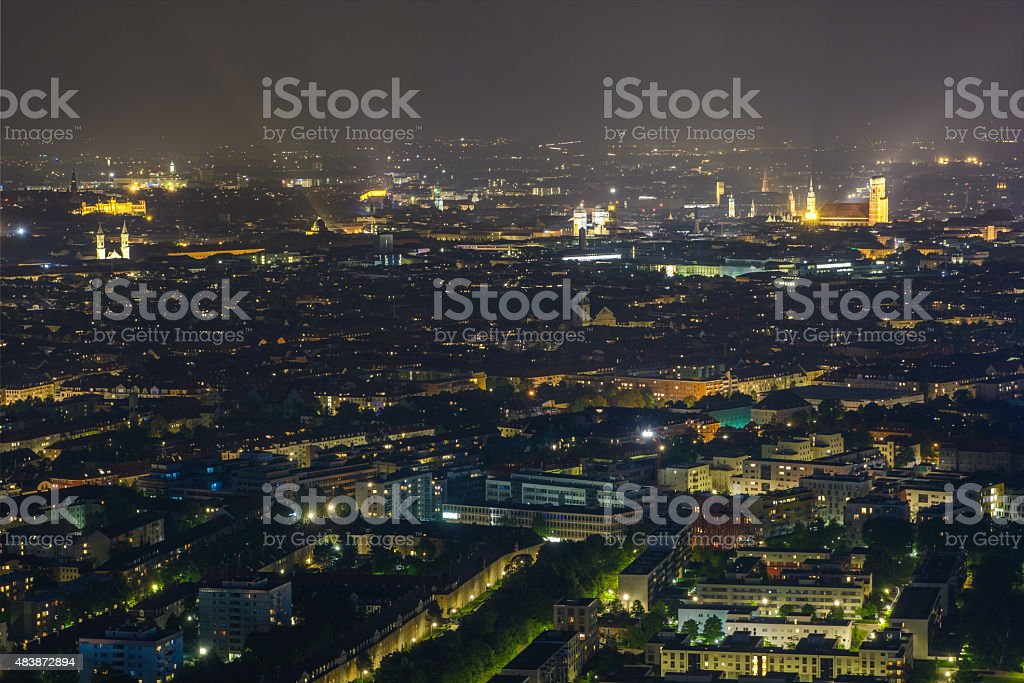 Munich  city center skyline  night stock photo