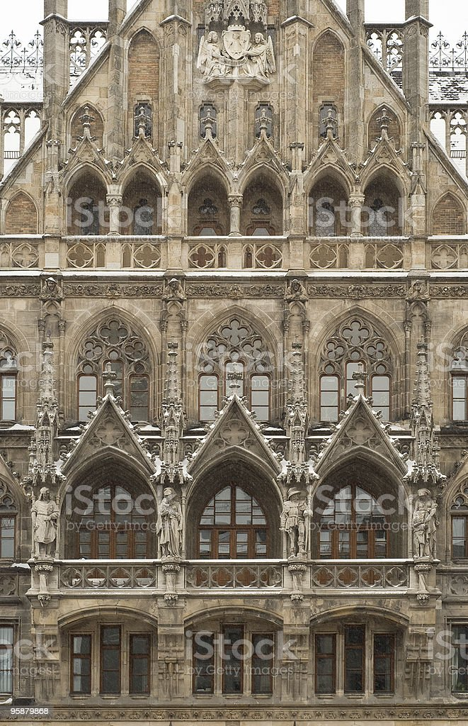 Munich City Hall in the Snow stock photo
