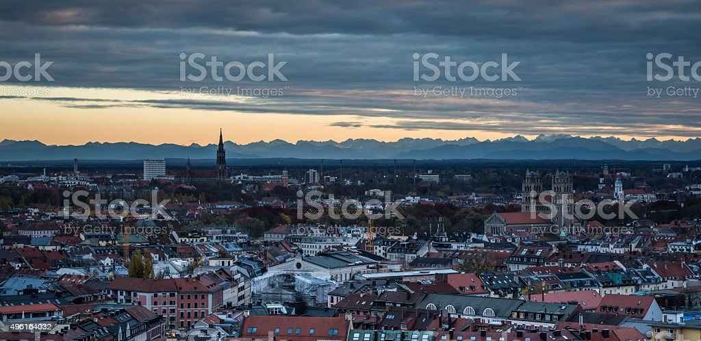 Munich city view from the Tower of Old Peter stock photo