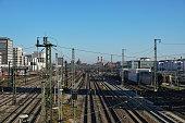 Munich. Main station railway track system.