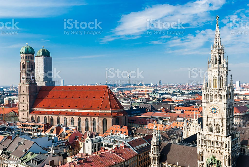 Munich Marienplatz from above stock photo