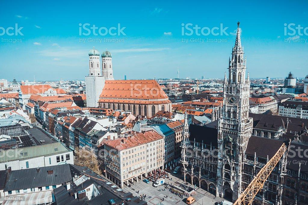 Munich Marienplatz, New City Hall and Frauenkirche stock photo