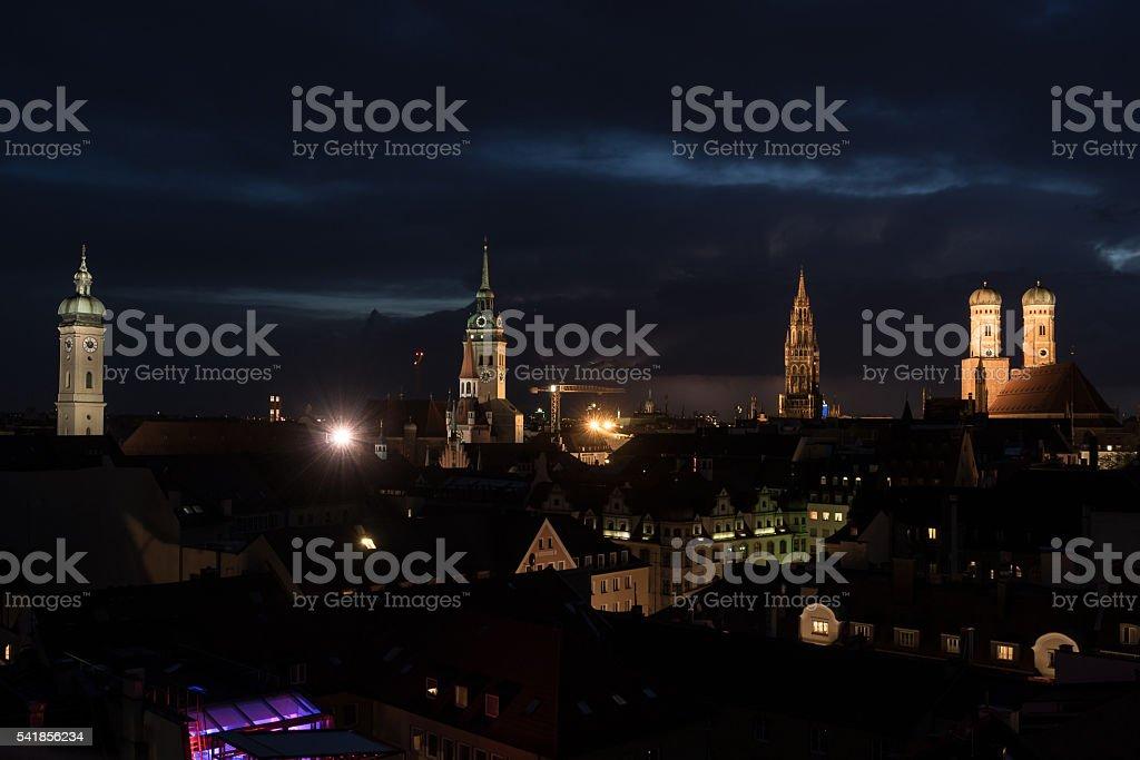Munich München Night Nacht City Shoot Frauenkirche stock photo