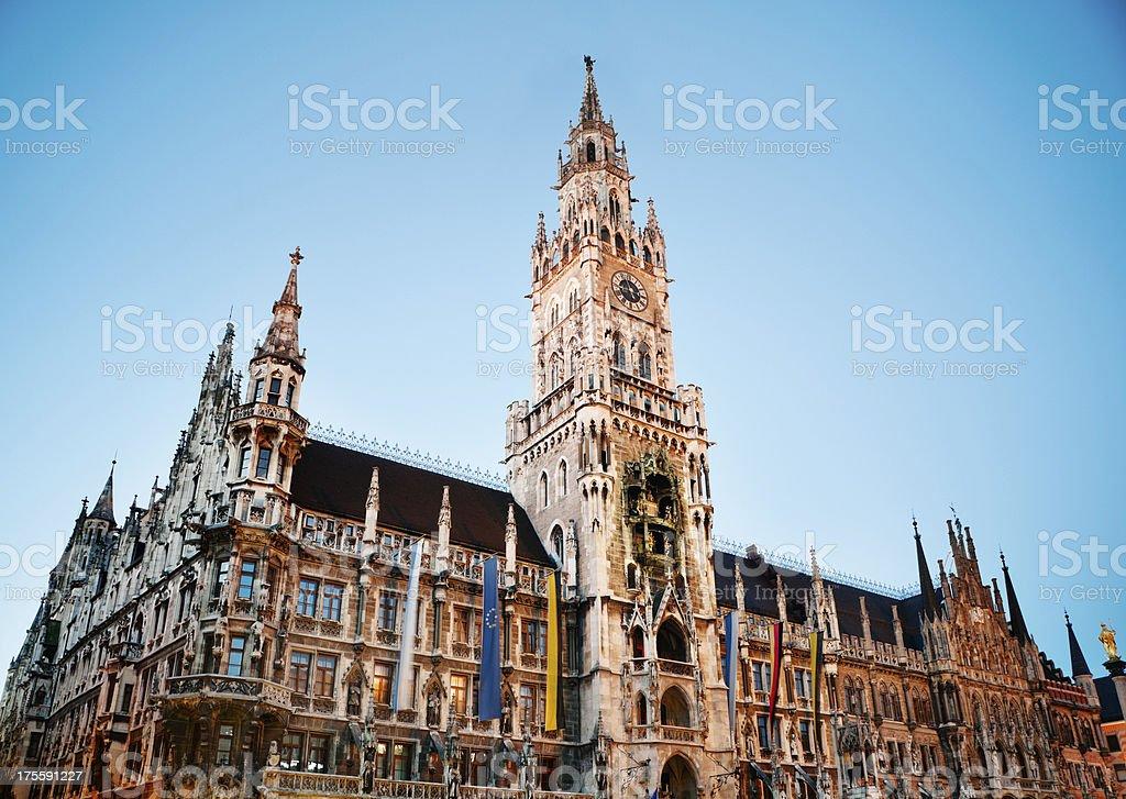 Munich New City Hall at Night stock photo