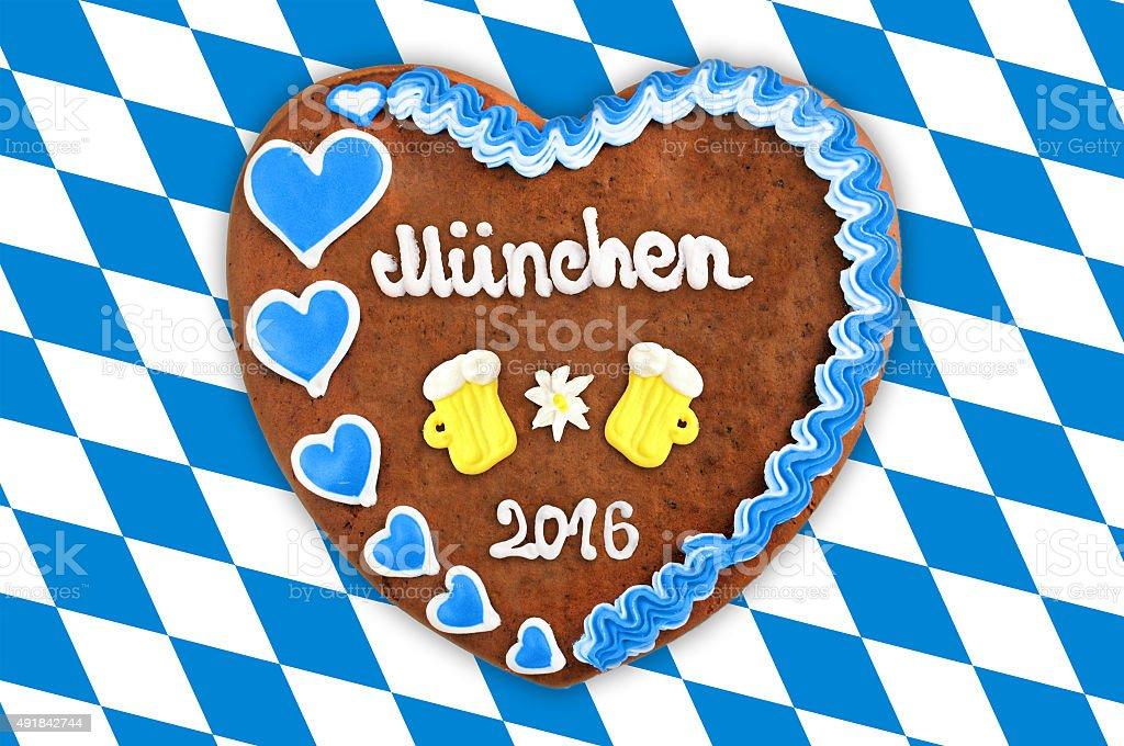 Munich Oktoberfest Gingerbread heart 2016 with beer glass stock photo