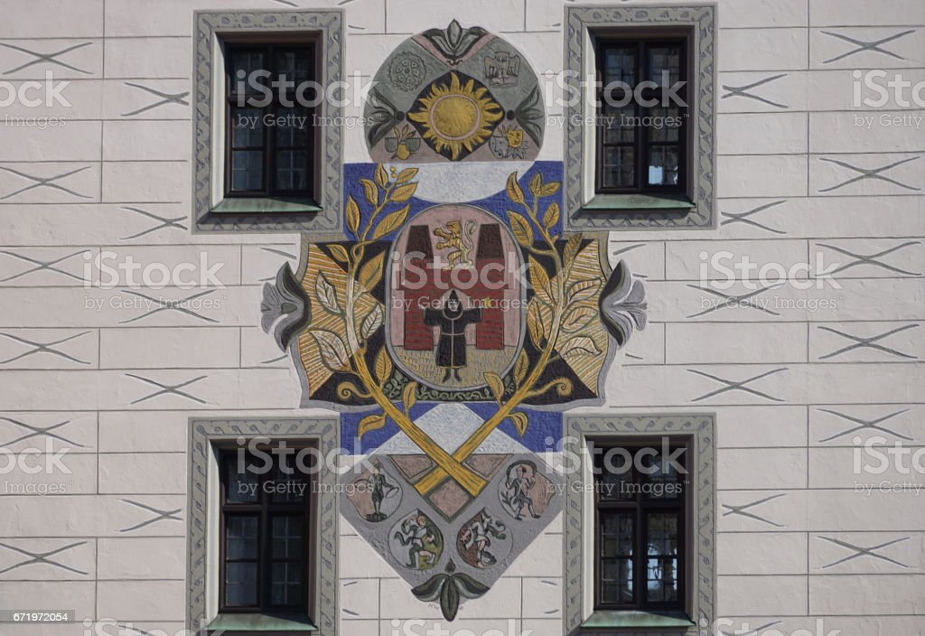Munich. Painting with the city coat of arms on the Old Town Hall tower. stock photo