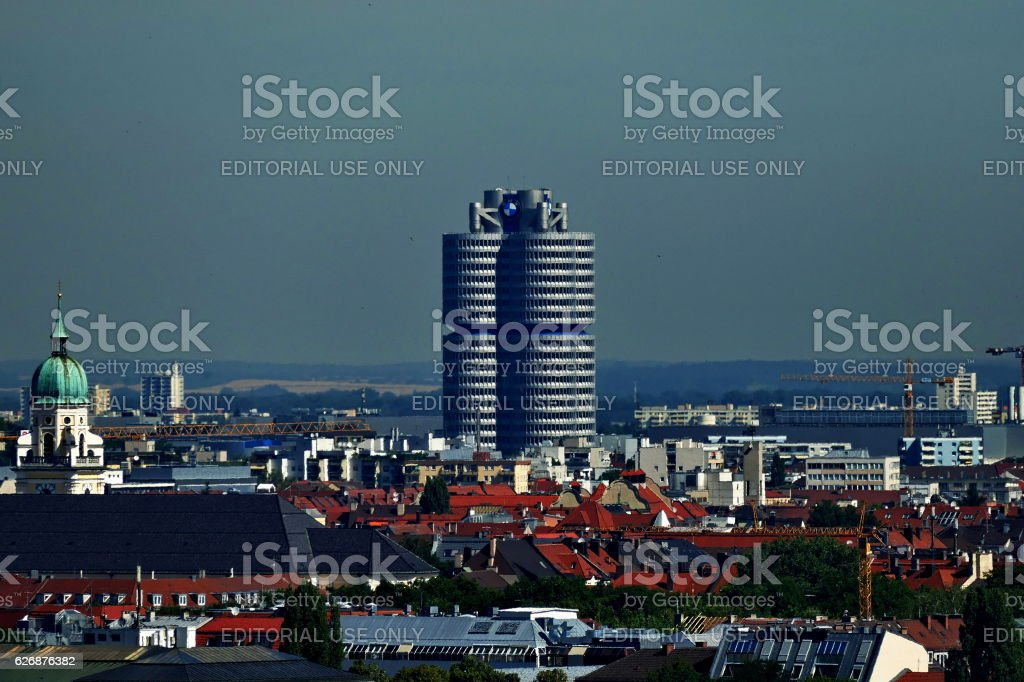Munich. Panoramic view  to the BMW  headquarters building, stock photo