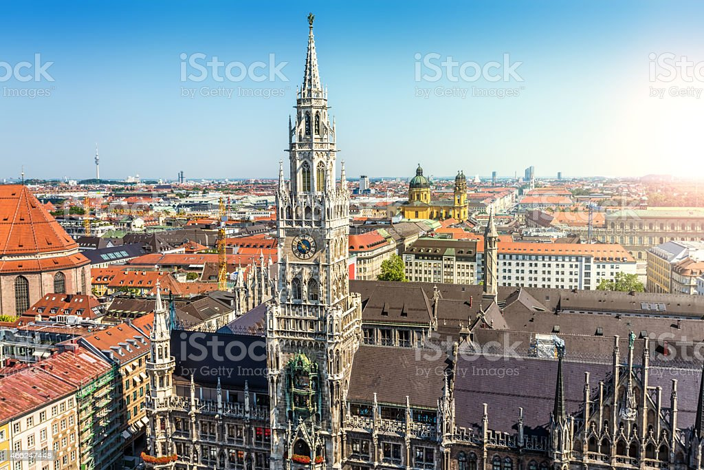 Munich skyline with town hall stock photo