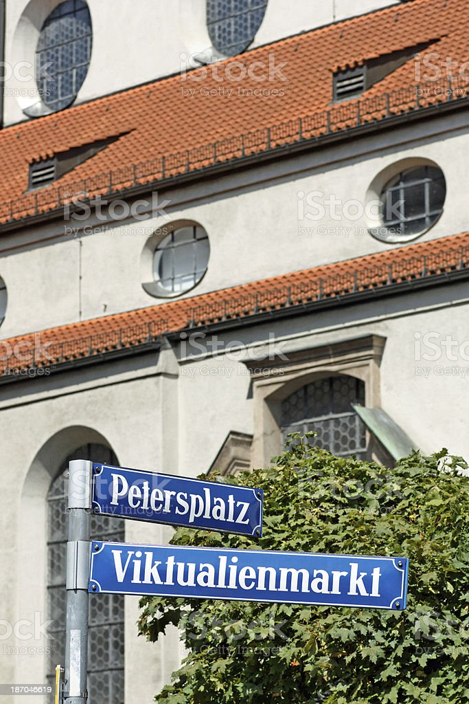 Munich Street Name Sign - Viktualienmarkt stock photo