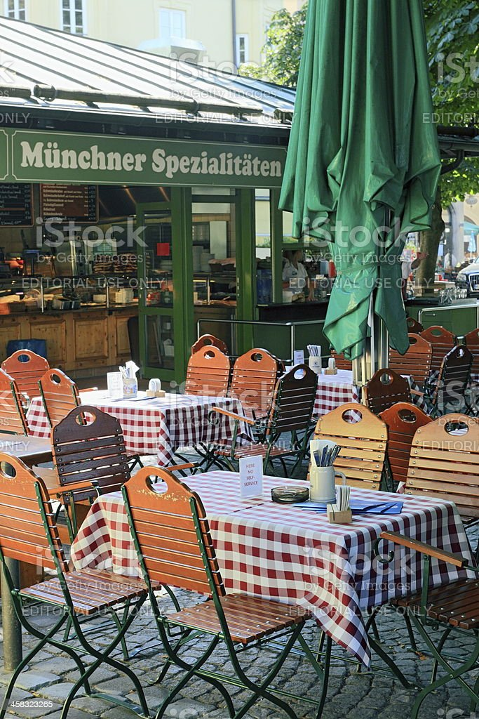 Munich - Street restaurant at the Viktualienmarkt stock photo