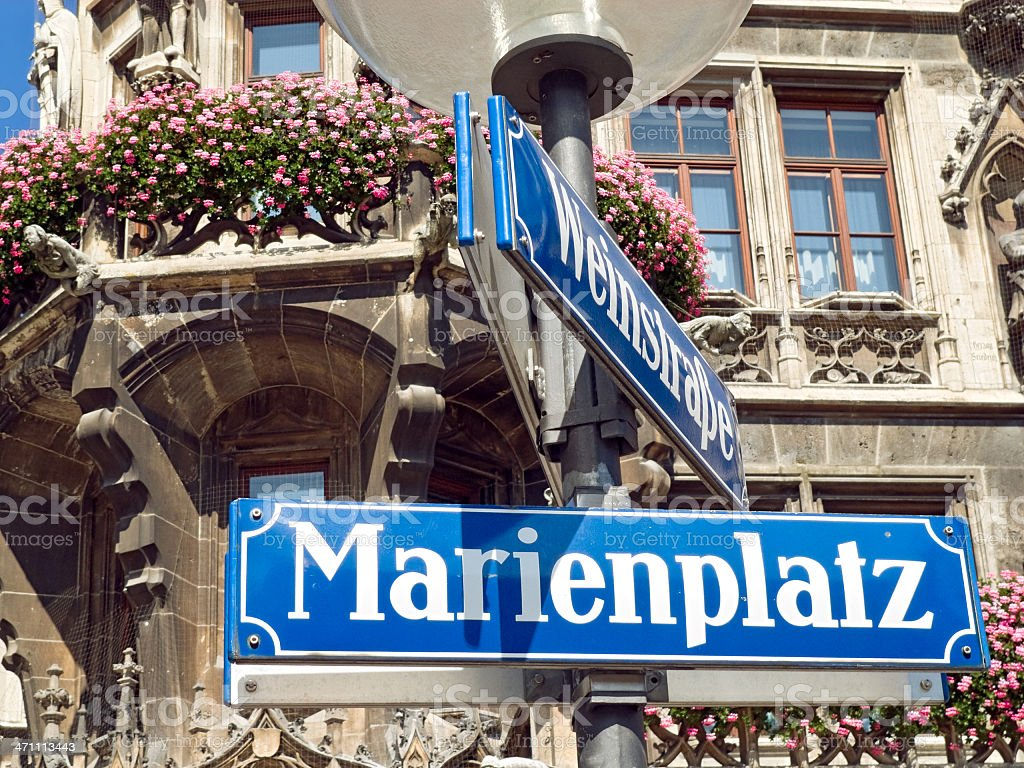 Munich street sign: Marienplatz with city hall royalty-free stock photo