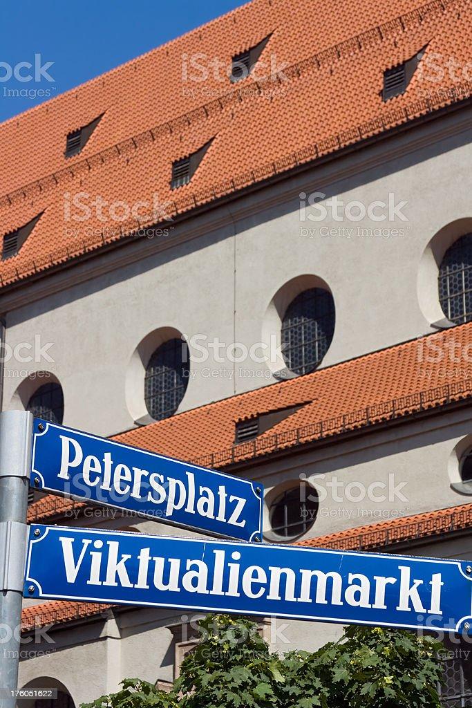 Munich street sign: Viktualienmarkt stock photo