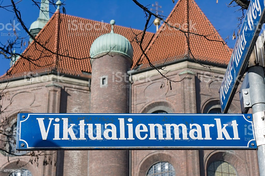 Munich street sign - Viktualienmarkt stock photo
