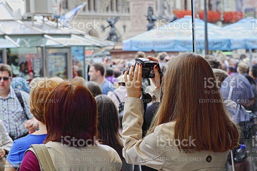 Munich - Tourists at the Marienplatz stock photo