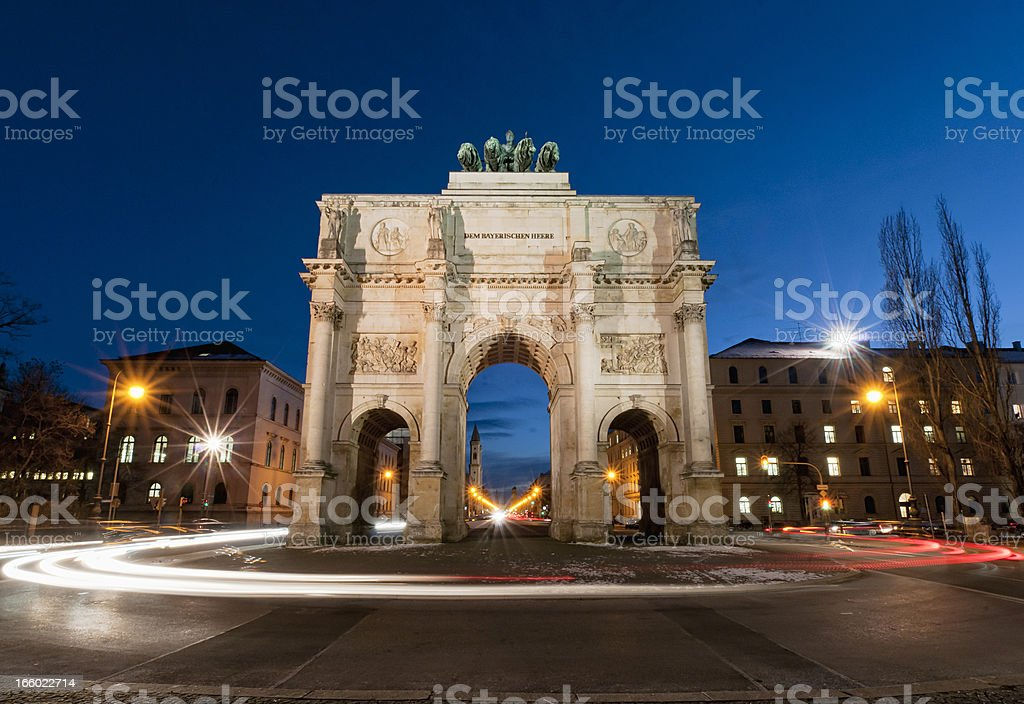 Munich Victory Gate Traffic stock photo