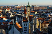 Munich. View to the old town hall at sunset