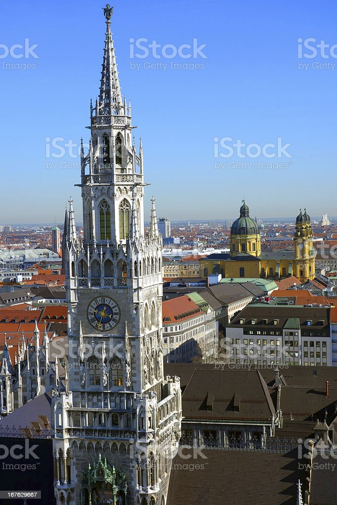 Munich's New Town Hall and Theatinerkirche stock photo