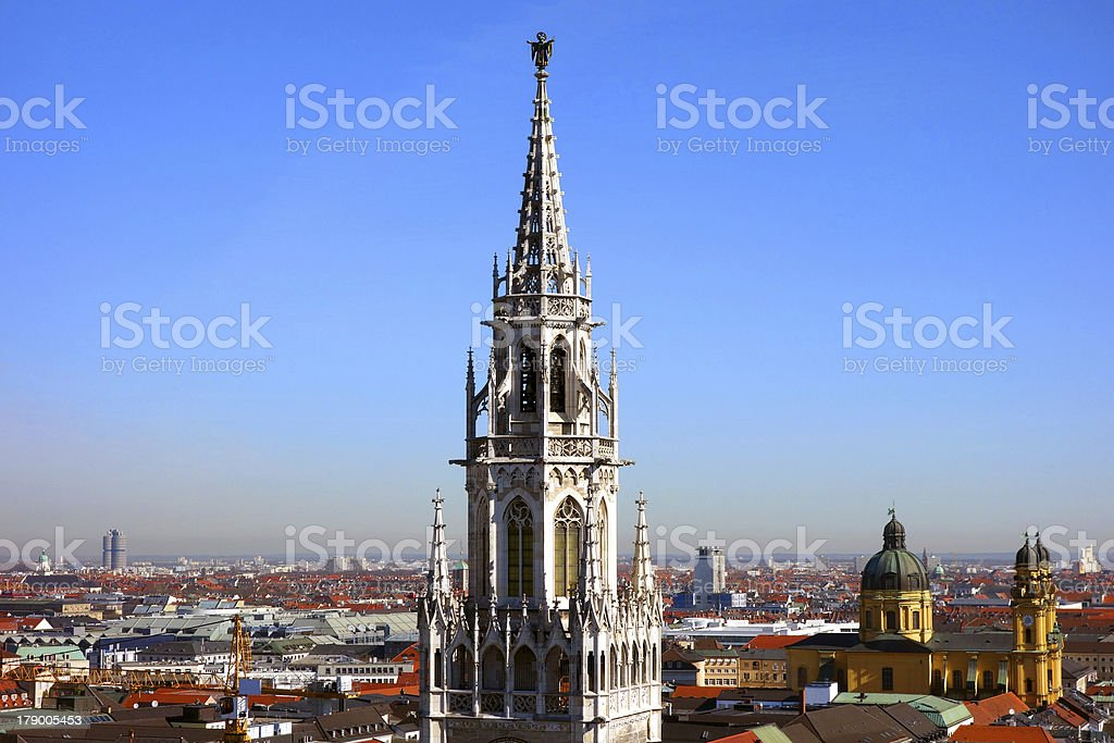 Munich's New Town Hall with its emblem the M?nchner Kindl royalty-free stock photo
