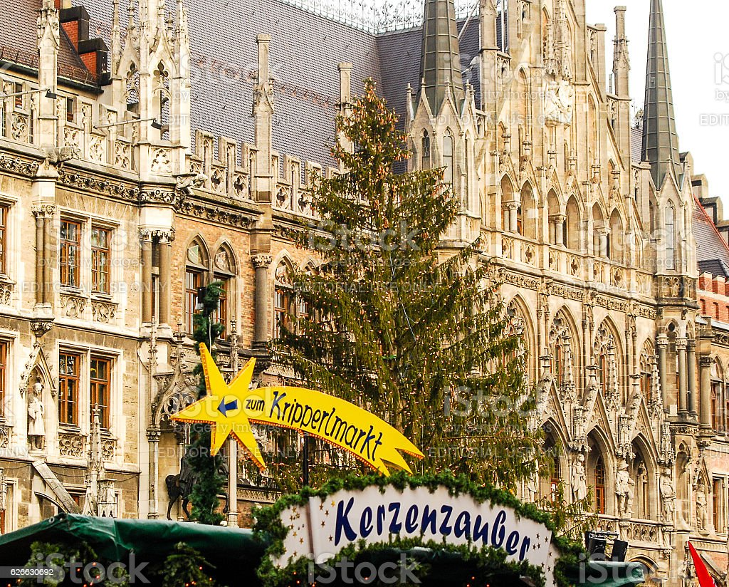 Munich's official Christmas Tree stands in front of Town hall stock photo