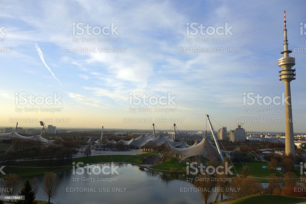 Munich's Olympic Stadium, Park and Tower at sunset royalty-free stock photo