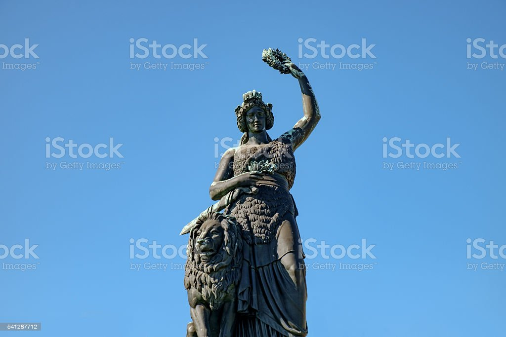Munich's Statue of Bavaria before clear sky stock photo
