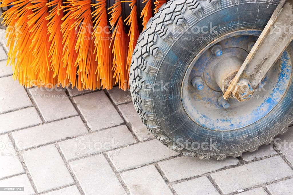 municipal car for cleaning of streets and sidewalks stock photo