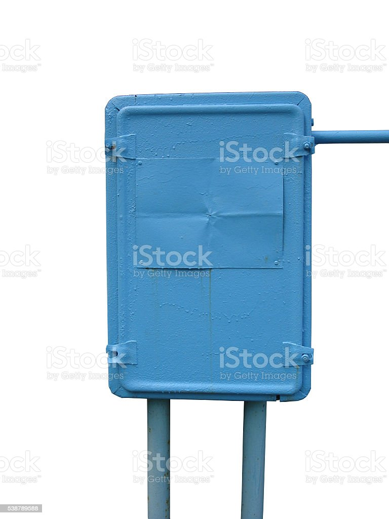 Municipal electrical metal blue enclosure on a white background stock photo